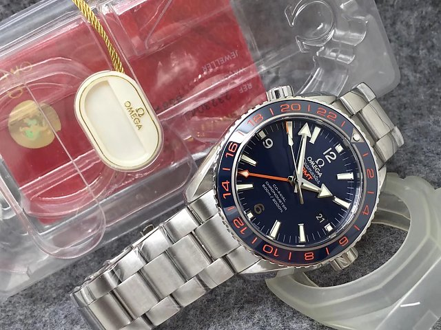 VS Factory Top Replica Omega Planet Ocean GMT Watch with Clone 8605 Movement Ceramic Bezel