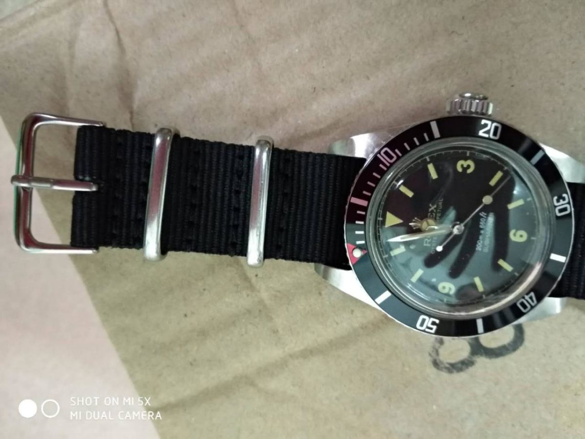 JK Factory Replica Vintage Rolex Submariner 6538 with Red Dot Bezel and Big Crown