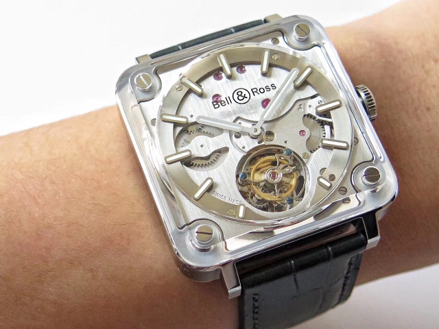 Replica Bell Ross Experimental BR X-2 Tourbillon Watch with BR-Cal.380 Movement Grey Leather Strap