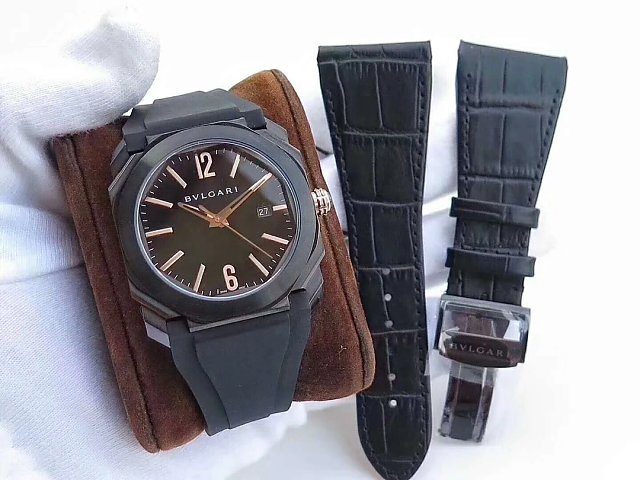 JL Factory Published Replica Bvlgari Octo Watch with BVL193 Movement Black Rubber Strap