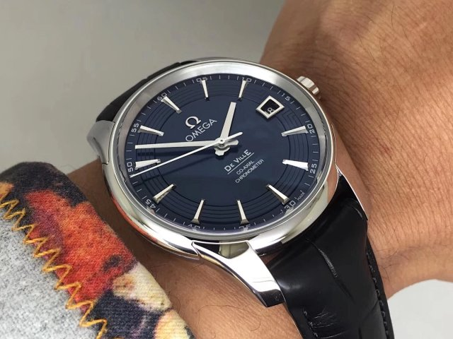 VS Factory Replica Omega De Ville Hour Vision with Super Clone 8500 Blue Dial