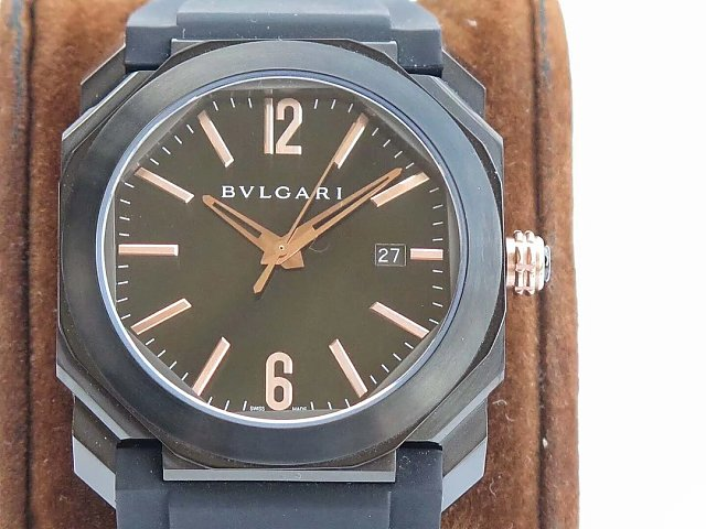JL FACTORY PUBLISHED REPLICA BVLGARI OCTO WATCH WITH BVL193 MOVEMENT BLACK RUBBER STRAP SALE